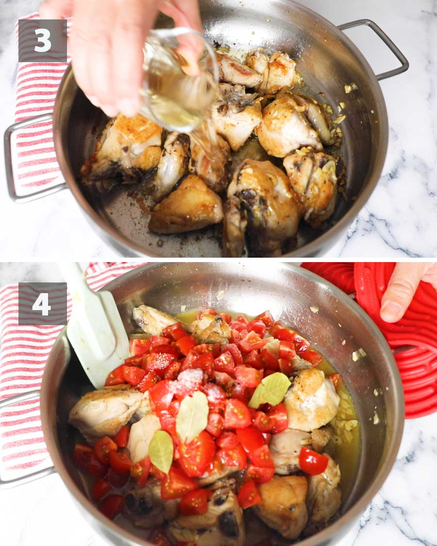 Last part of a collage of images showing the step by step process on how to make chicken cacciatore.