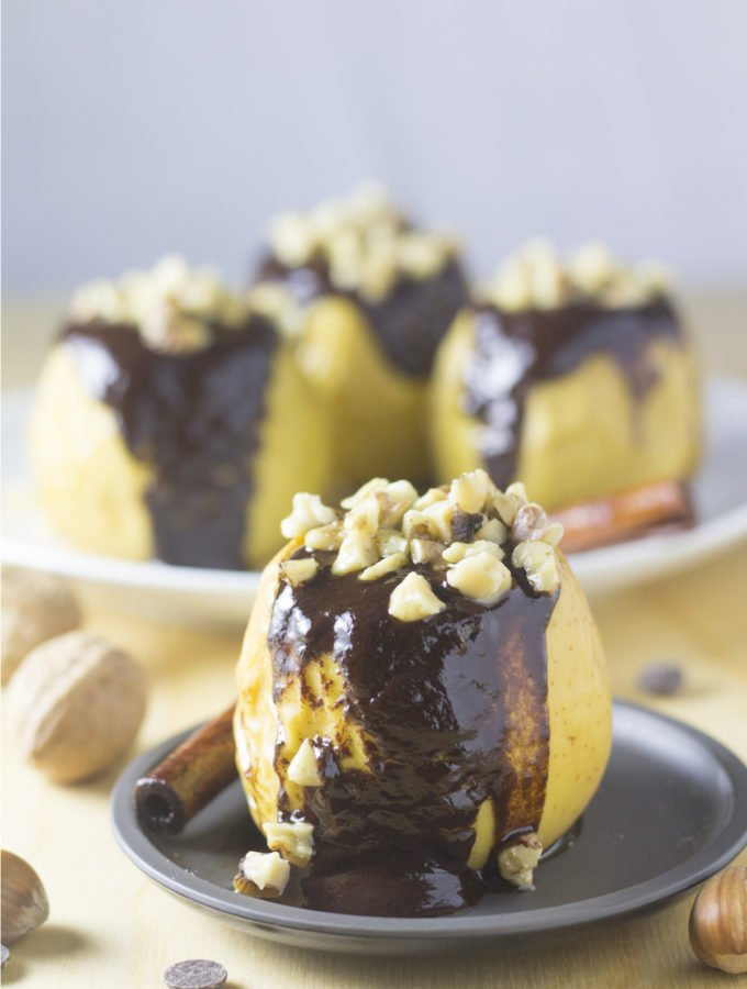 Baked Apples with Walnuts and Chocolate Sauce