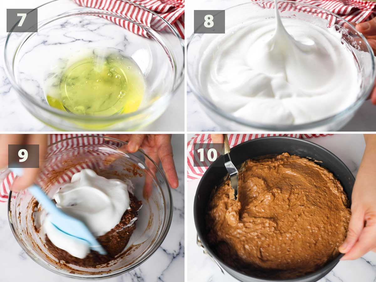 Last part of a collage of images showing the step by step process on how to make Italian Chocolate almond Cake.