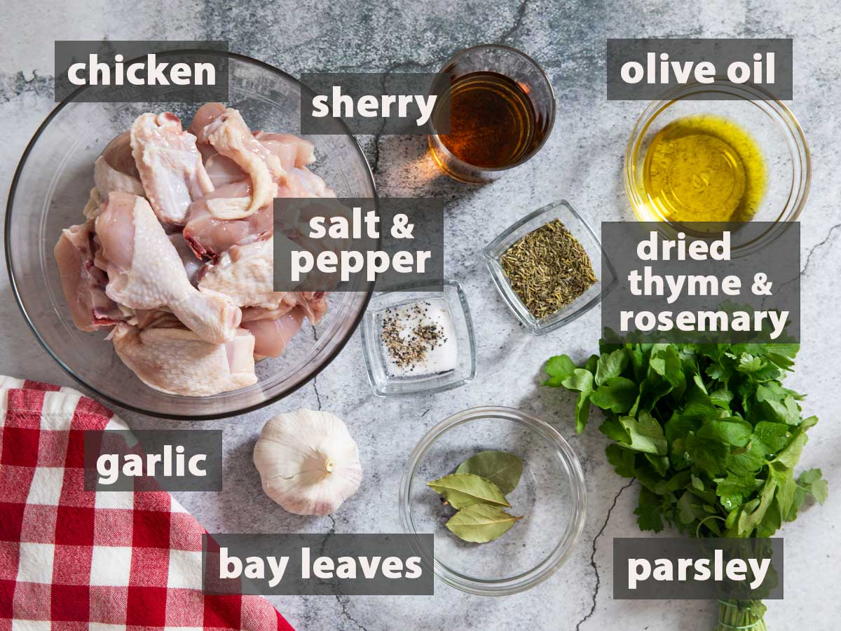 An image showing the ingredients that you need to prepare Pollo Al Ajillo at home