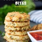 Pinterest Image for Baked Potato and Zucchini Bites. A combination of mashed potato and grated zucchini that's great for appetizers or snacks! Add it now on your list of healthy zucchini recipes!