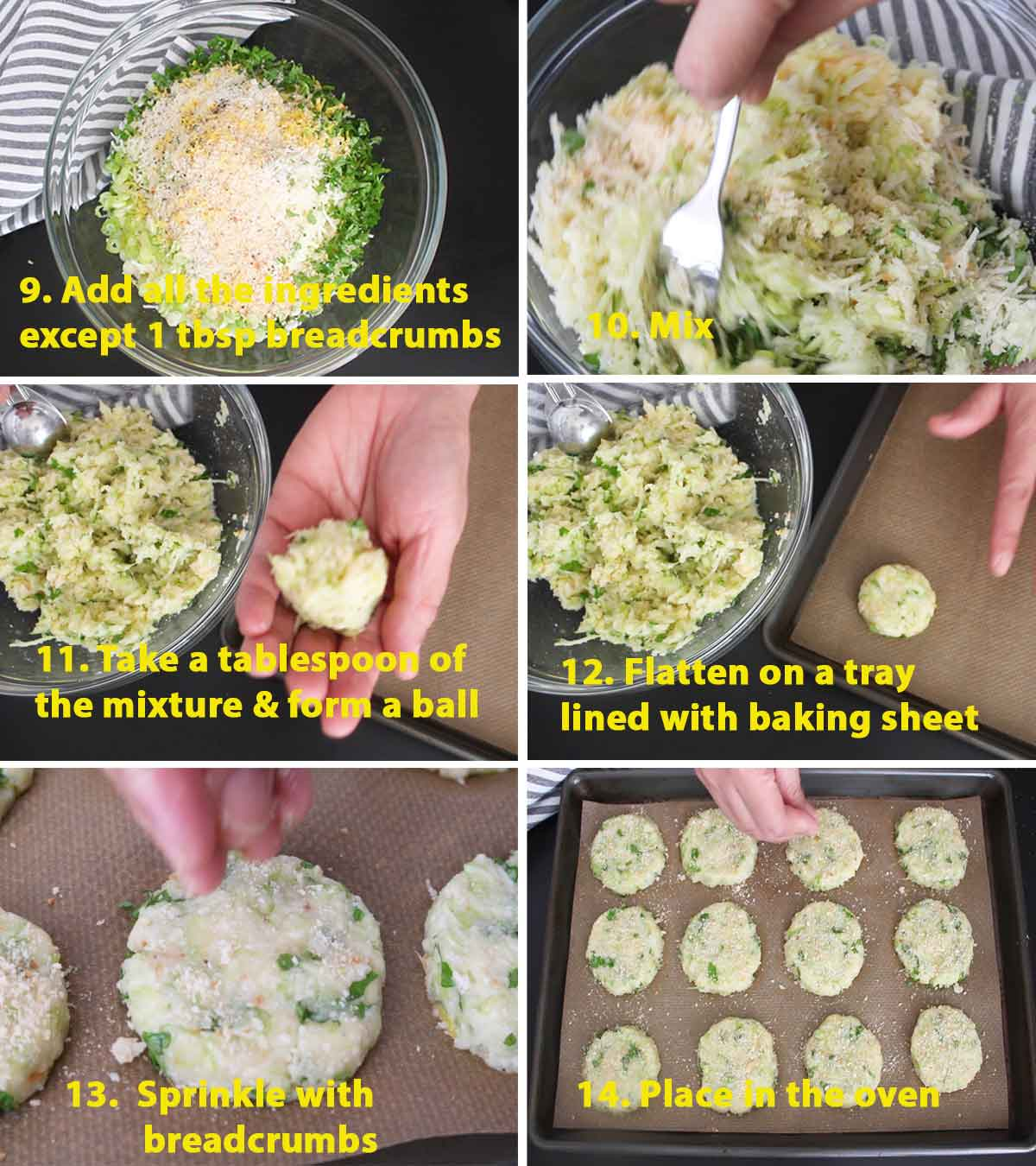 A collage of images showing the last part on the step by step process on how to make baked potato and zucchini bites. Because of the form of these bites, as shown in the collage, they are sometimes called potato and zucchini fritters.