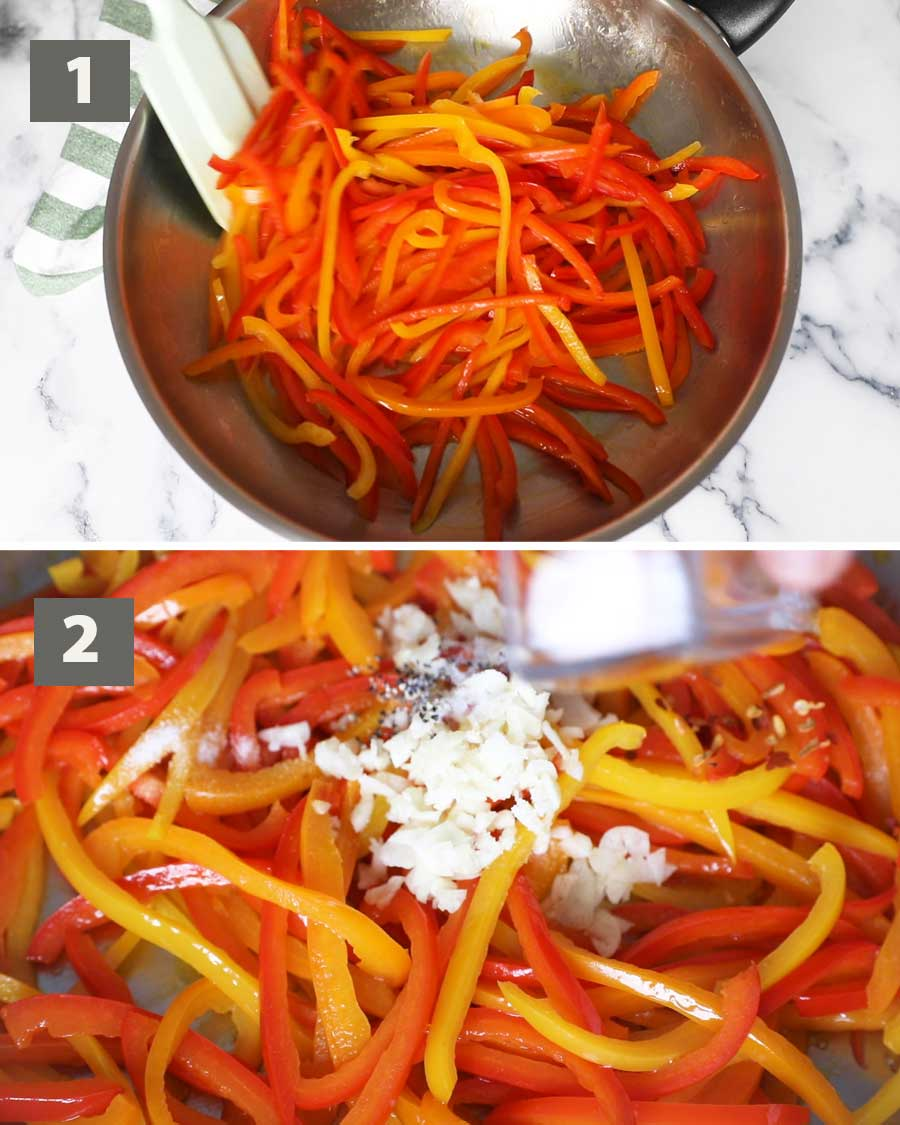 First part of a collage of images showing the step by step process on how to make fried bell peppers pasta.