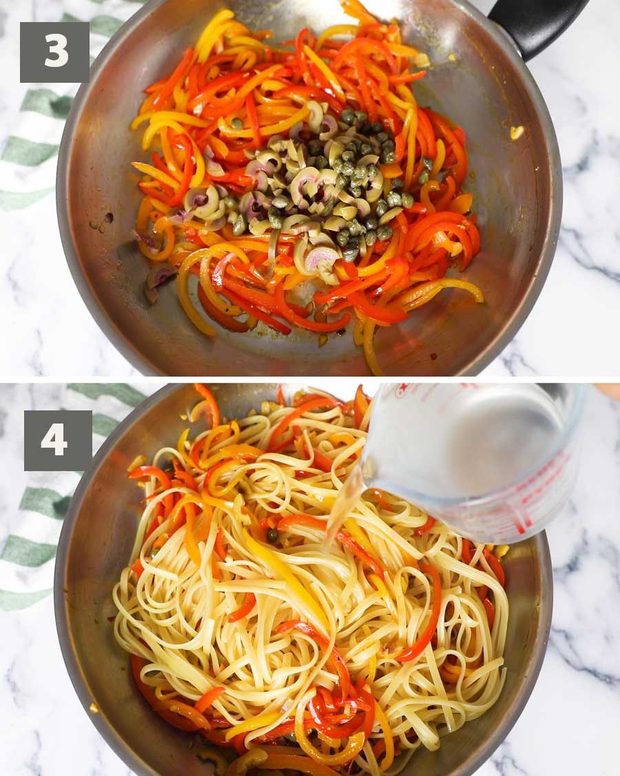 Second part of a collage of images showing the step by step process on how to prepare fried bell peppers pasta.
