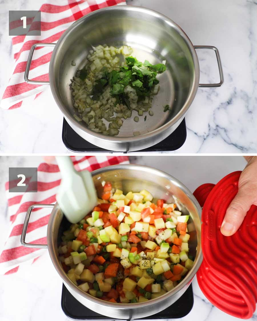 First part of a collage of images showing the step by step process on how to make vegetable minestrone soup