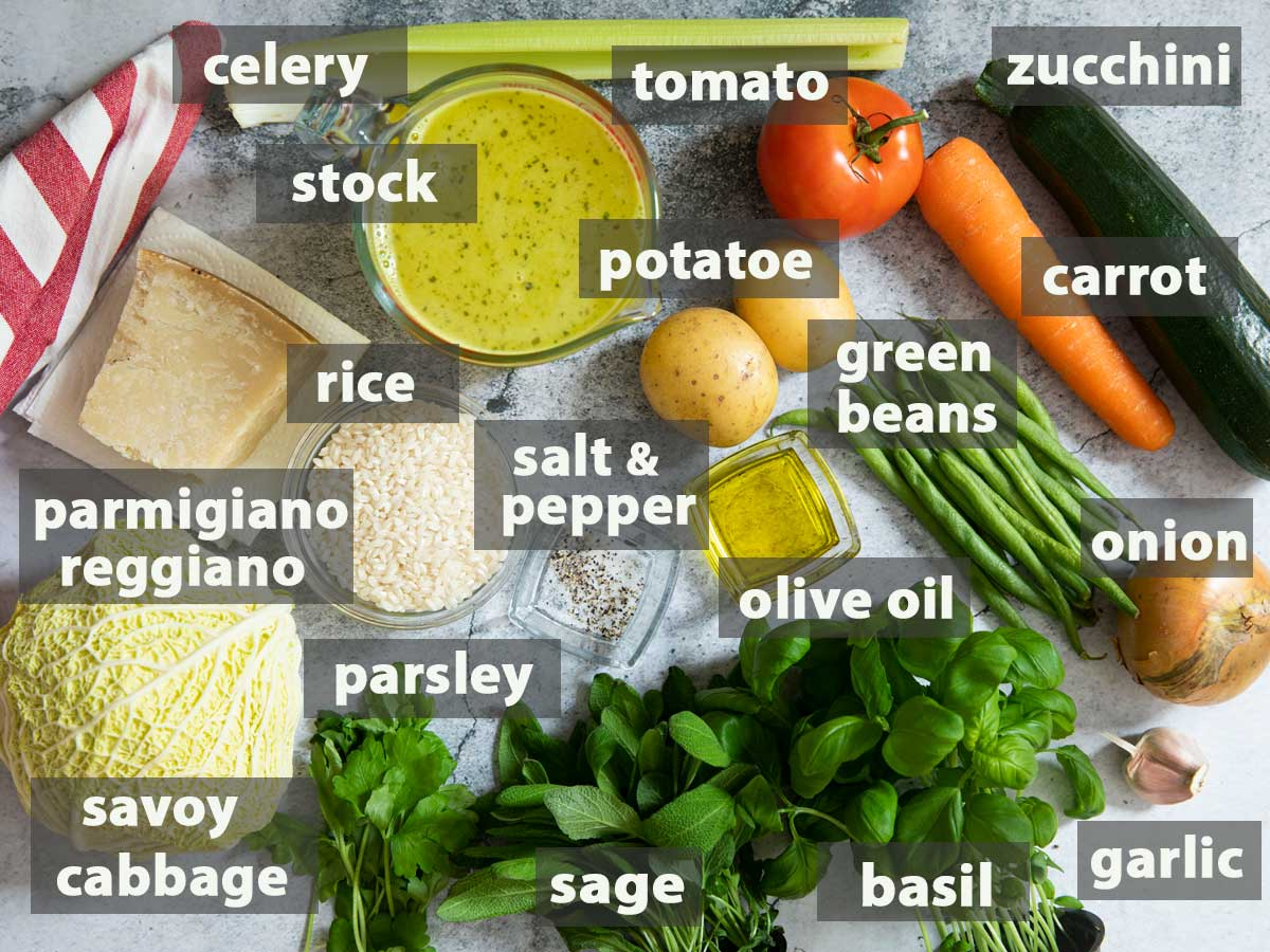 An image showing all the ingredients in making summer minestrone.