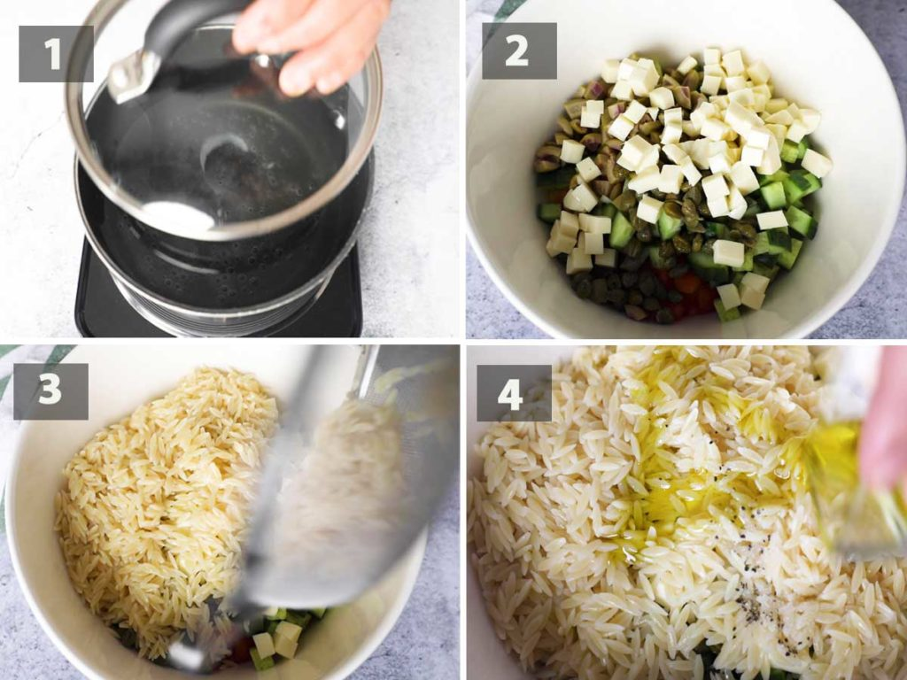 First part of a collage of images showing the step by step process on how to prepare Italian Risoni Salad.