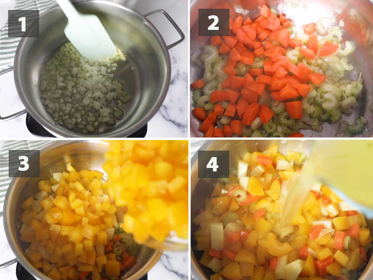 First part of a collage of images showing the step by step process on how to prepare pepper soup.