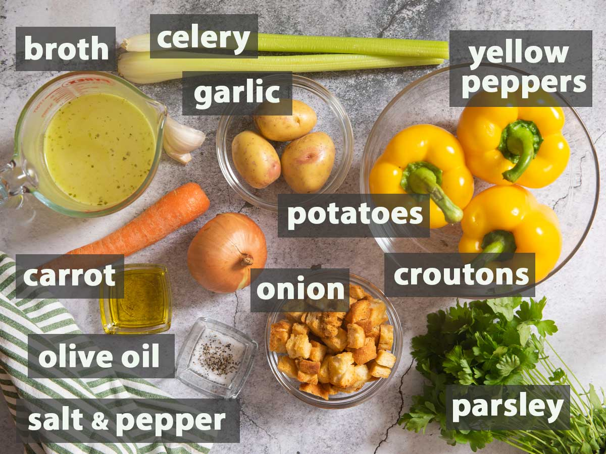 An image showing all the ingredients you need to prepare bell pepper soup.