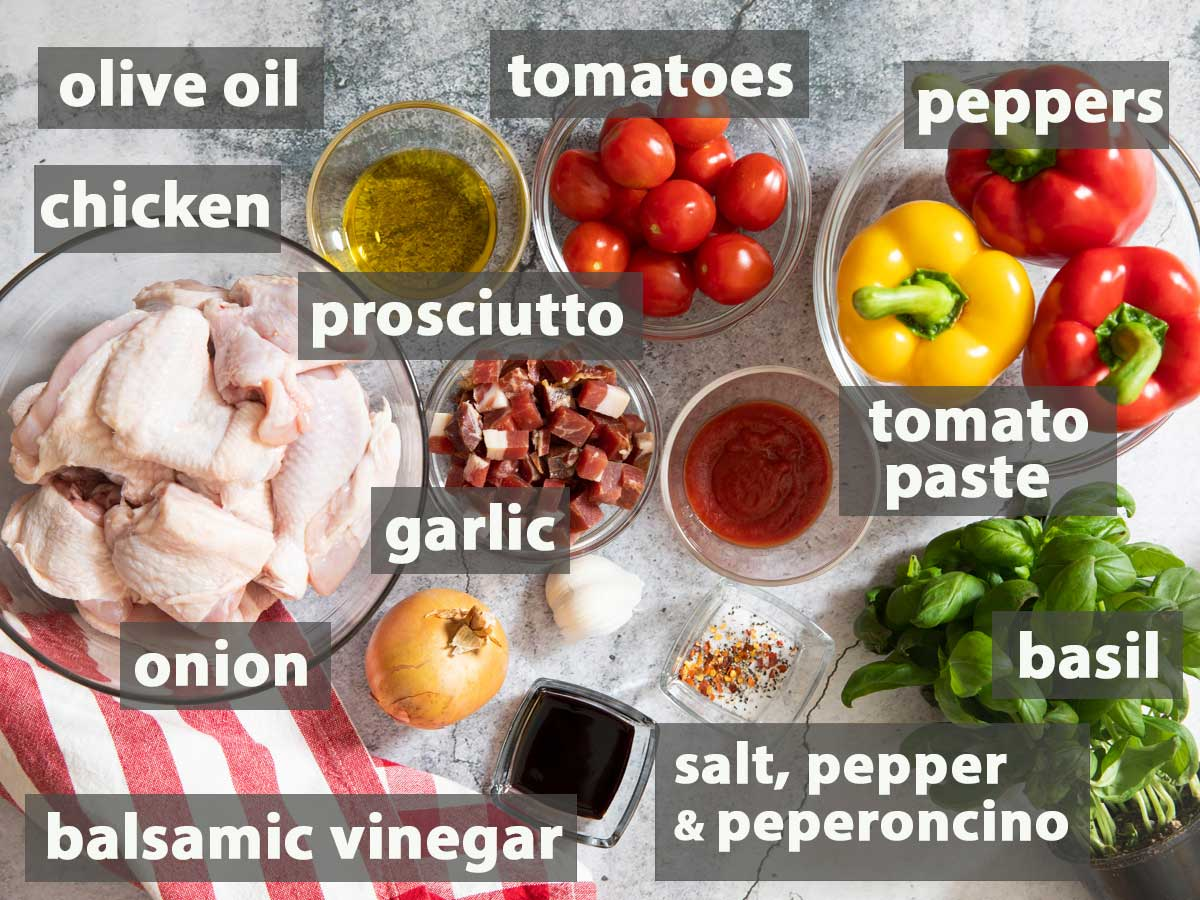 An image showing all the ingredients you need to prepare chicken romana.