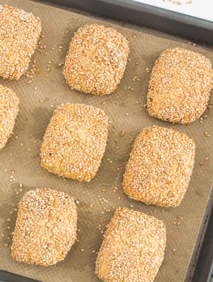 Sicilian Sesame Seed Cookies (Biscotti Regina), ready for serving.