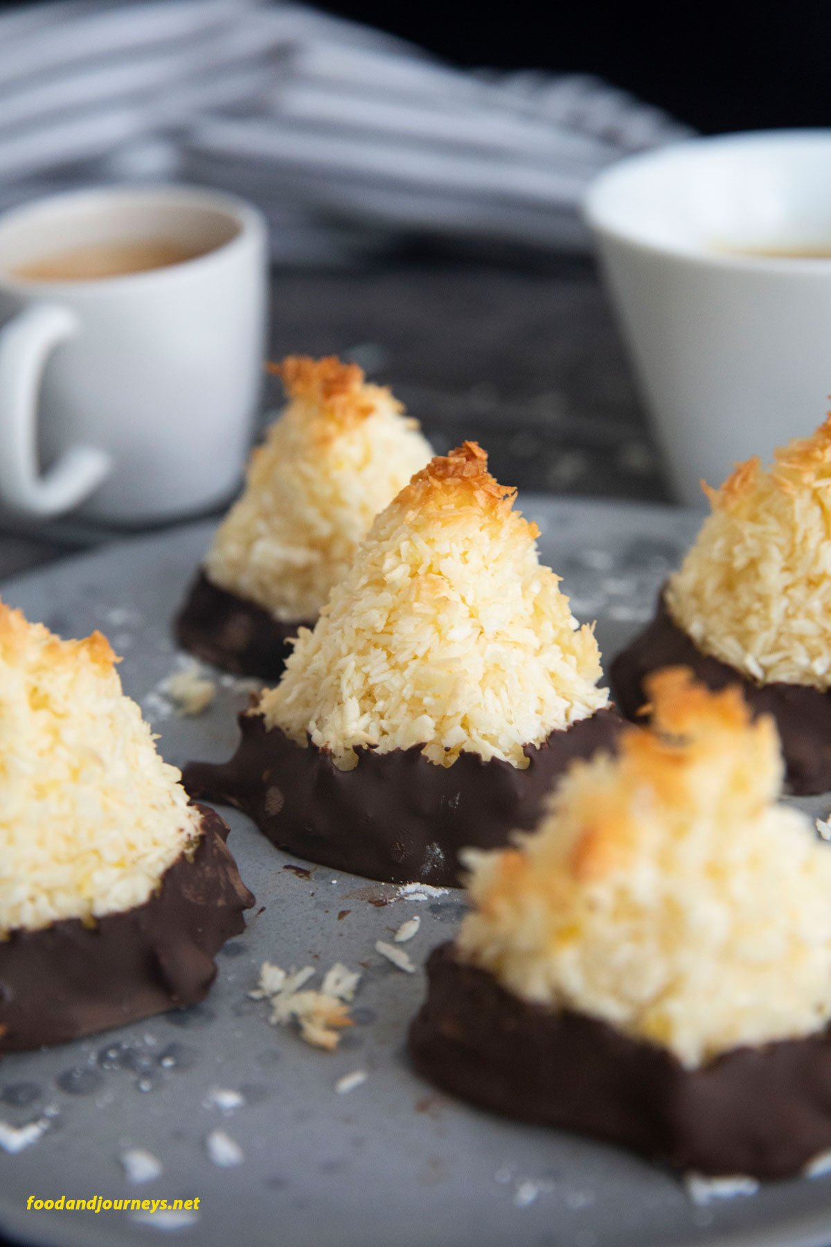 A closer shot of Swedish Coconut Bites, highlighting the texture of each piece.