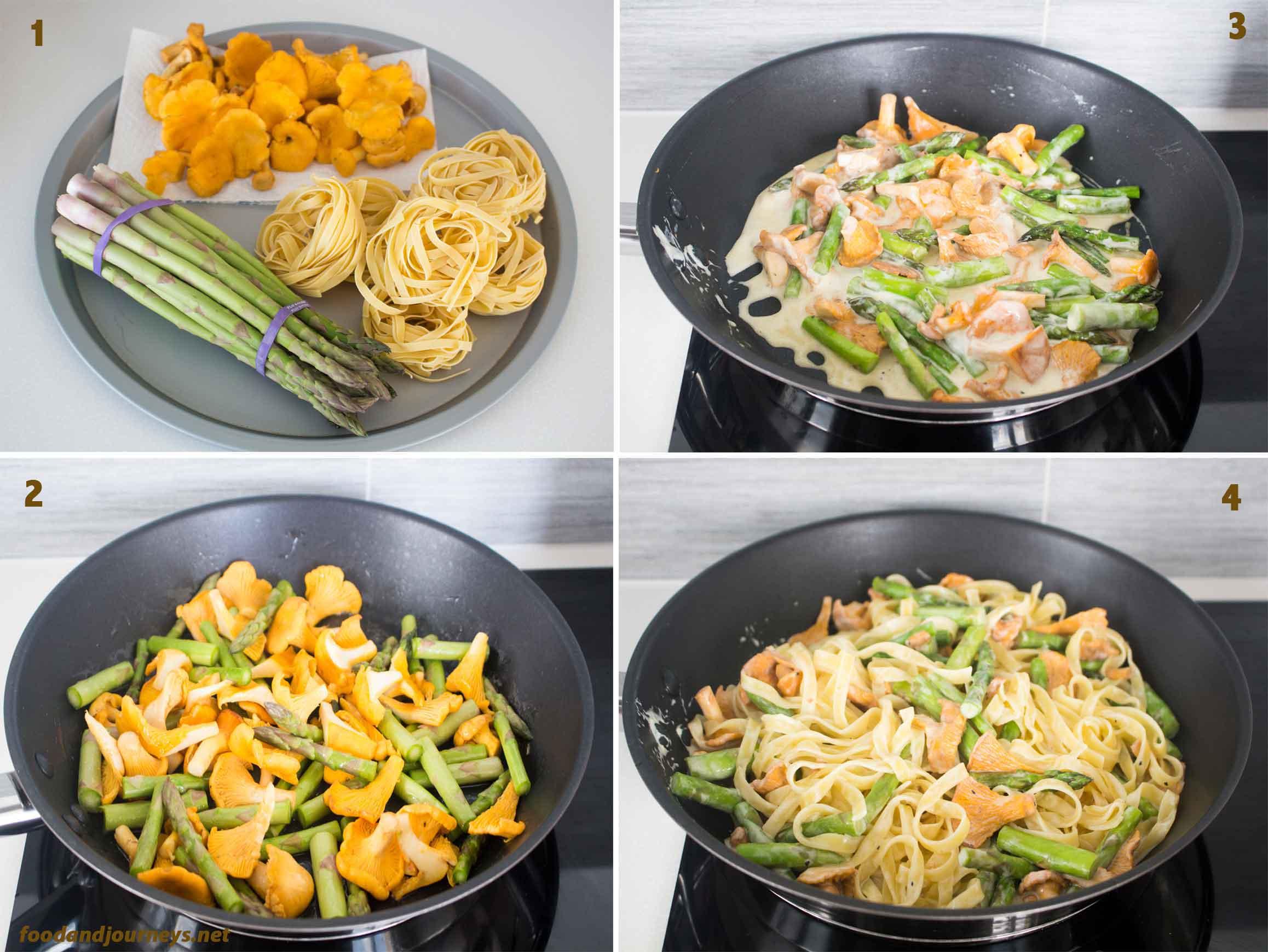 Chanterelle & Asparagus Tagliatelle STEPS|foodandjourneys.net