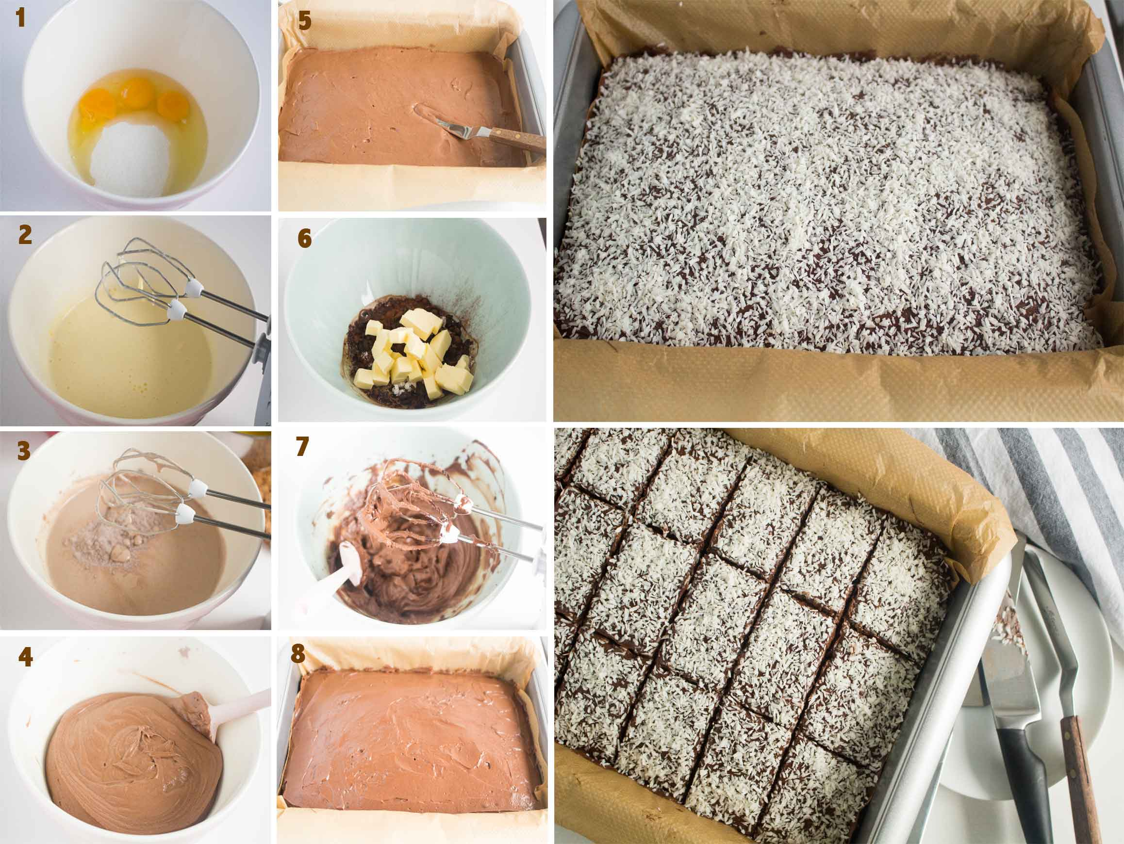 Collage of images showing the steps to make Swedish Chocolate Coffee Squares.