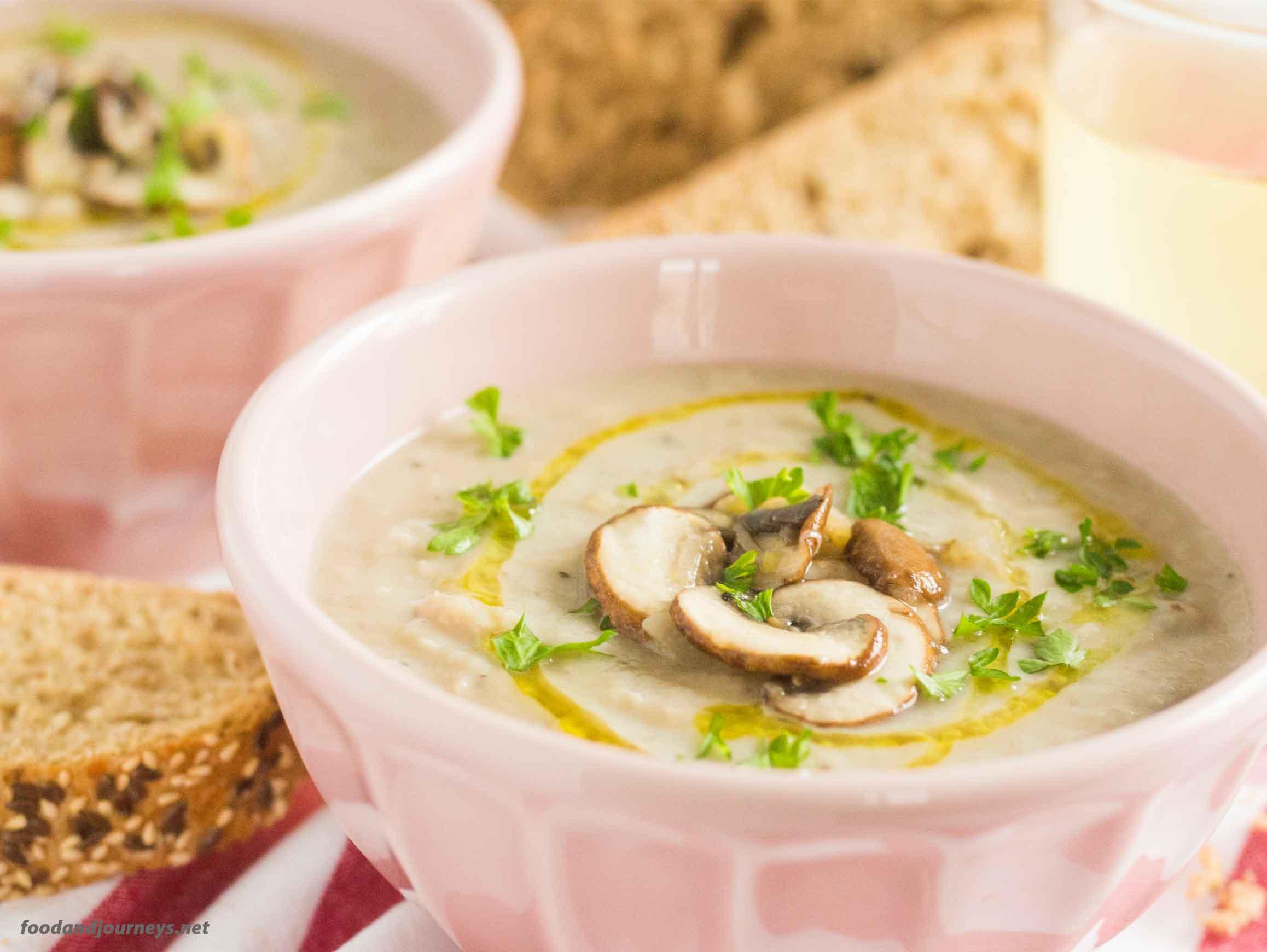 Cream of Beans & Mushrooms Soup MPIC|foodandjourneys.net