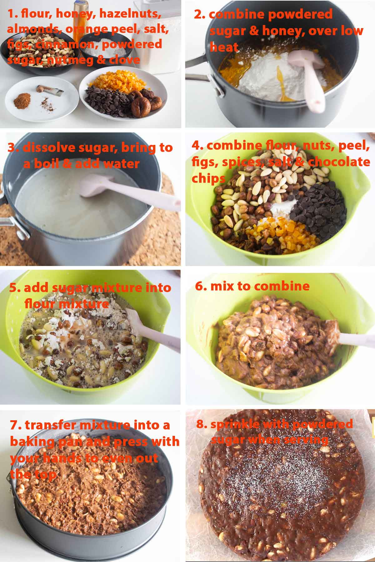 Collage of images showing the step by step process on how to make Panforte