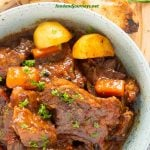 Pinterest Image for Spanish Beef Stew, a great short ribs and beef stew recipe to have!