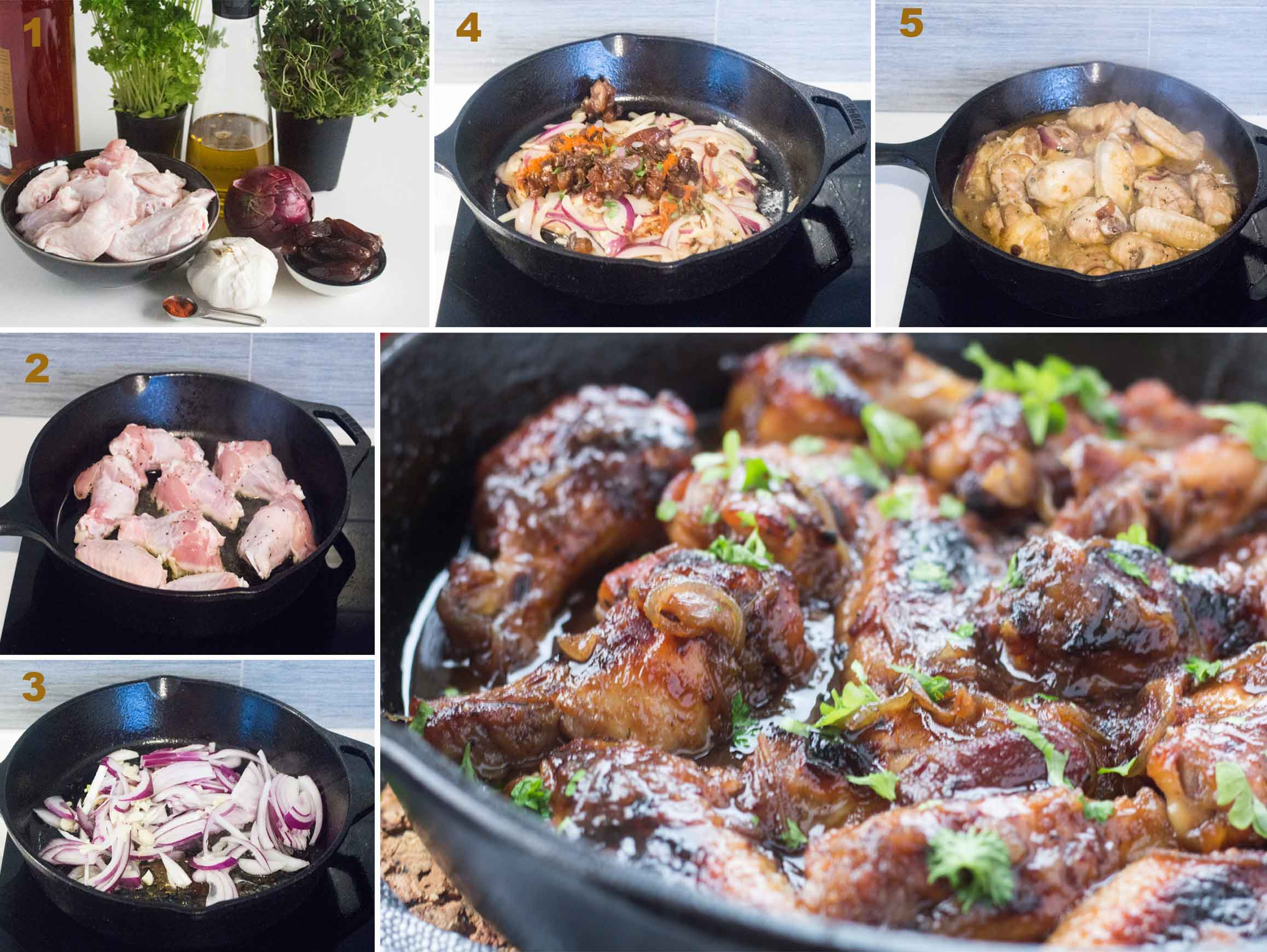 Collage of images showing how to make Spanish Sweet & Sticky Wings.