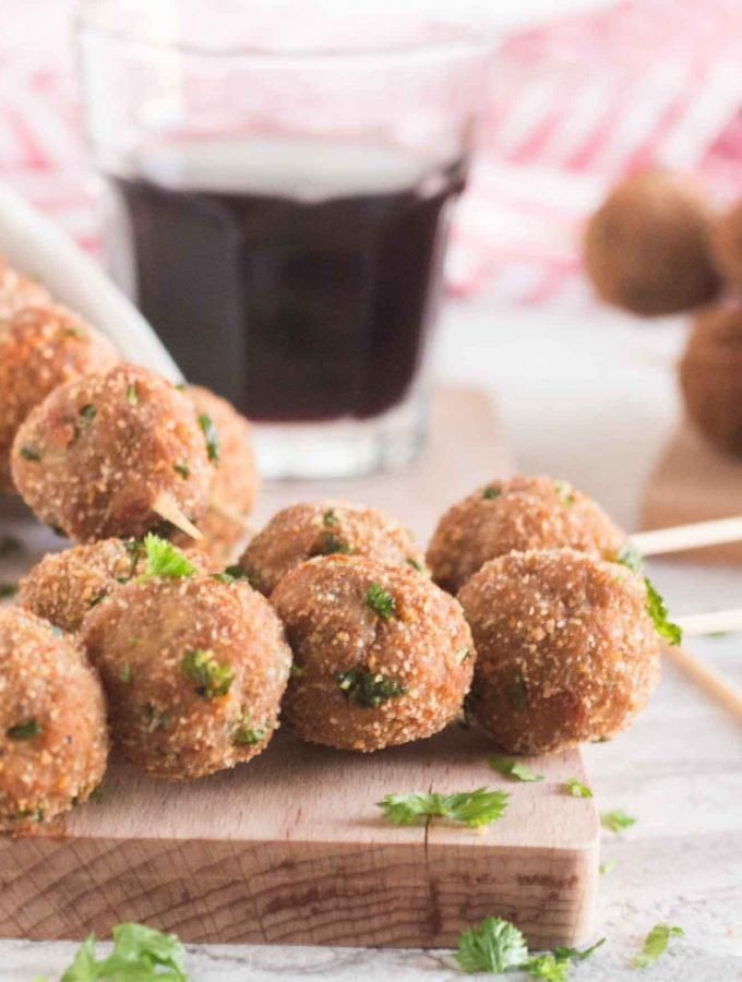 Image of Mini Meatballs on a Skewer, ready for serving