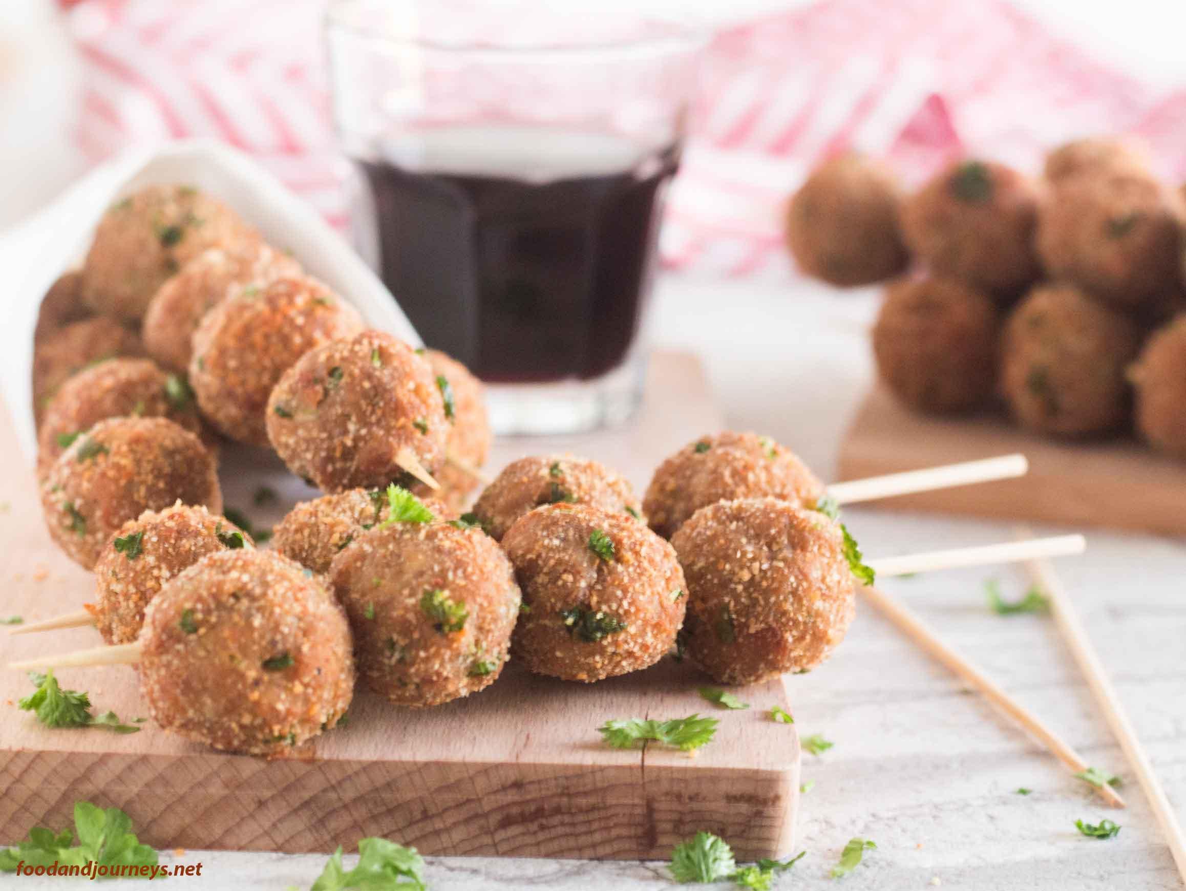 Image of Mini Meatballs on a Skewer, ready for serving|foodandjourneys.net