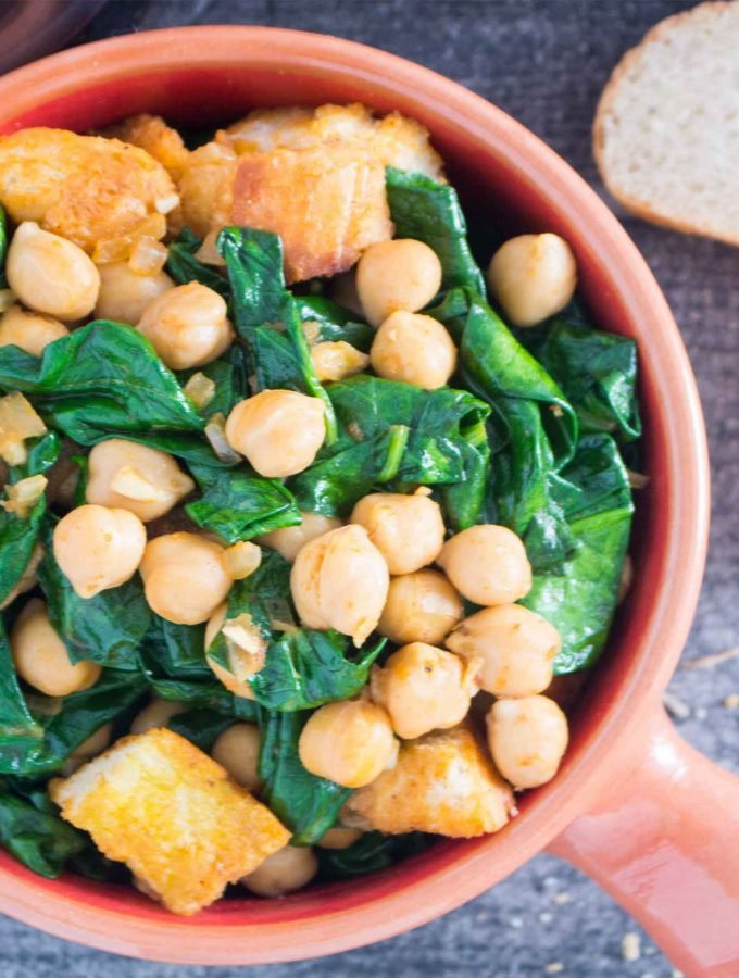 Overhead shot of Spanish Spinach with Chickpeas (Espinacas con Garbanzos)