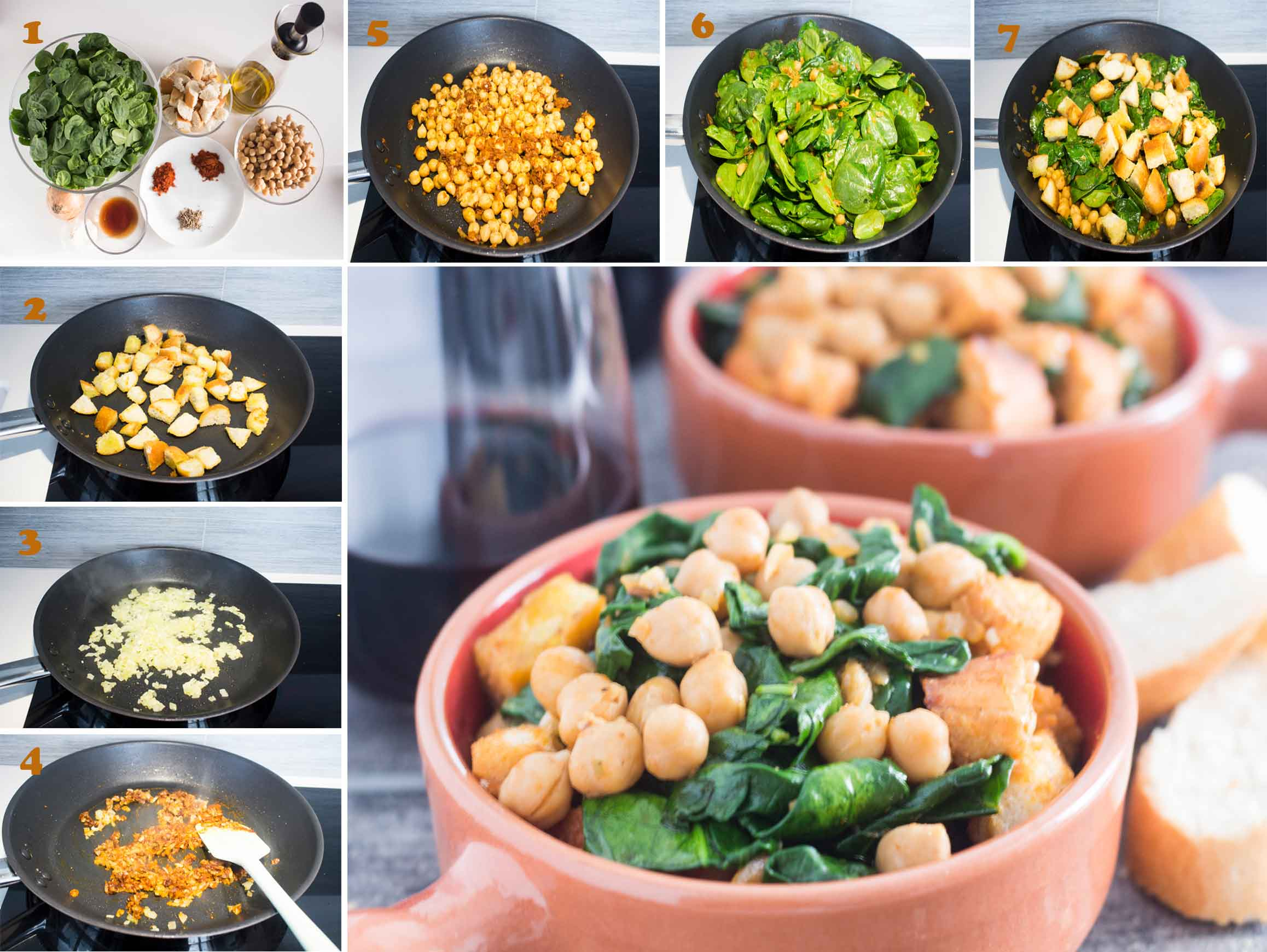 Collage of images showing steps on making Spanish Spinach with Chickpeas (Espinacas con Garbanzos)|foodandjourneys.net