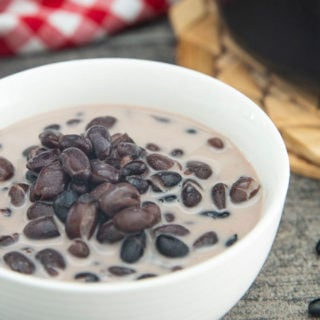 A bowl of Thai Black Beans in Coconut Milk, ready for serving.