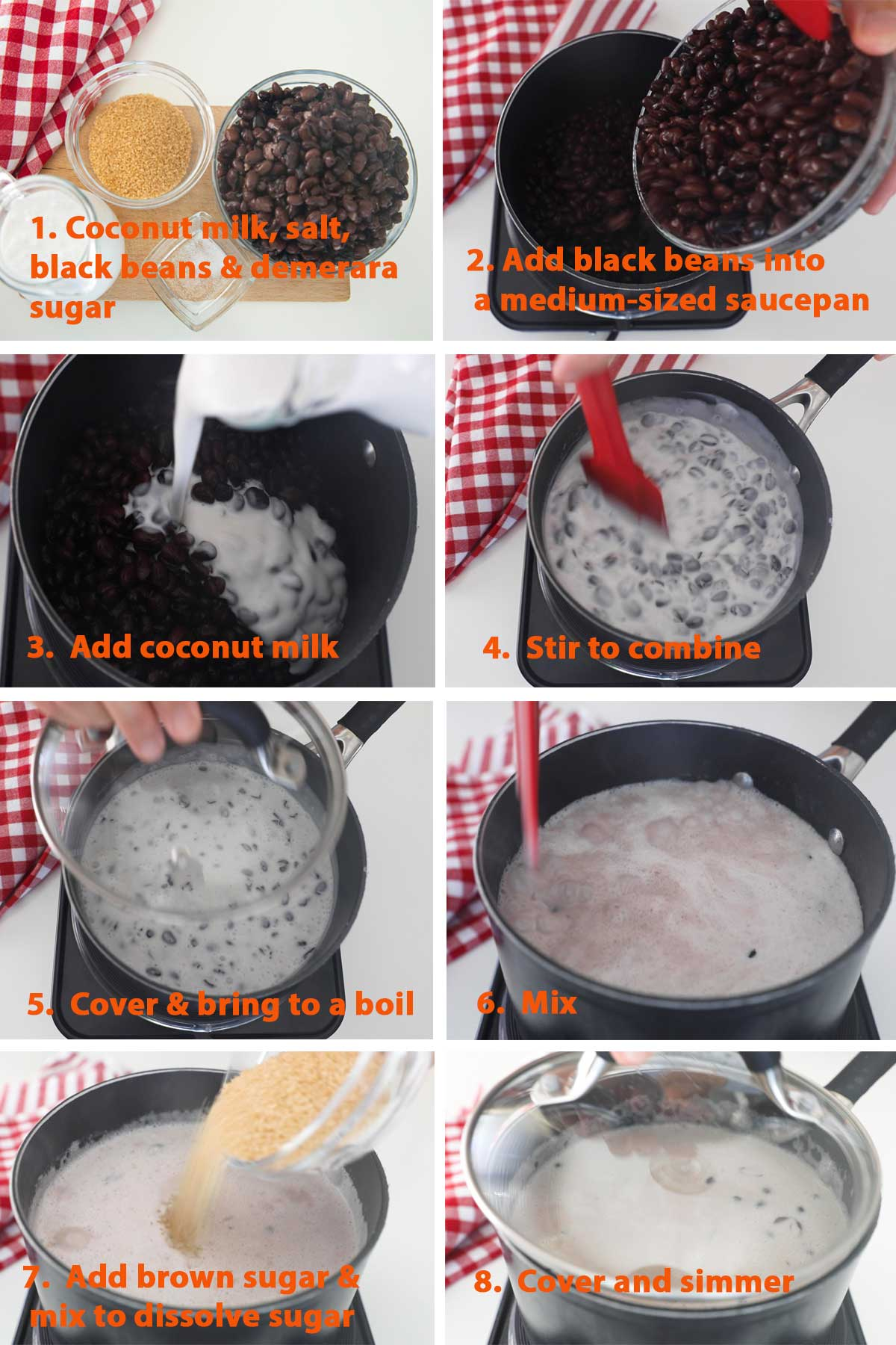A collage of images showing the step by step process on how to make Thai Black Beans in Coconut Milk.