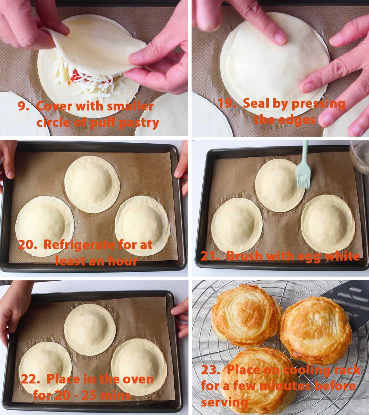 Last part of a collage showing the step by step process on how to make Rustico Leccese (Tomato and Mozzarella Pastry). They are quite addictive! The crunch and the combination of flavors from the béchamel sauce, tomato sauce and mozzarella, just YUM!