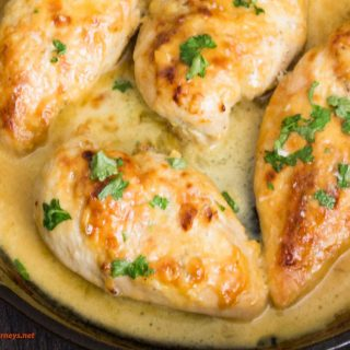 Overhead image of Creamy Honey Mustard Chicken on a skillet