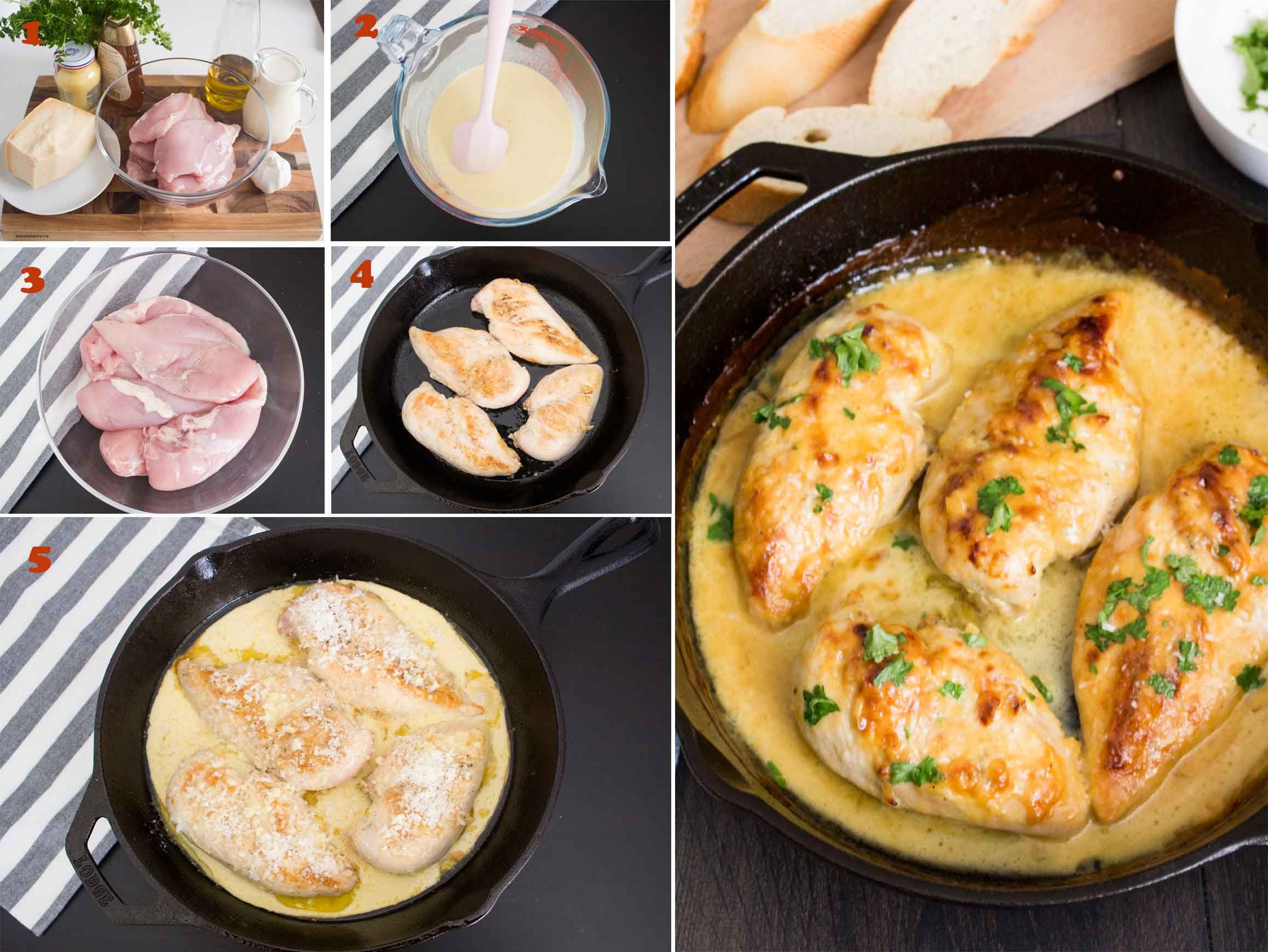 Collage of images showing how to make honey mustard chicken.