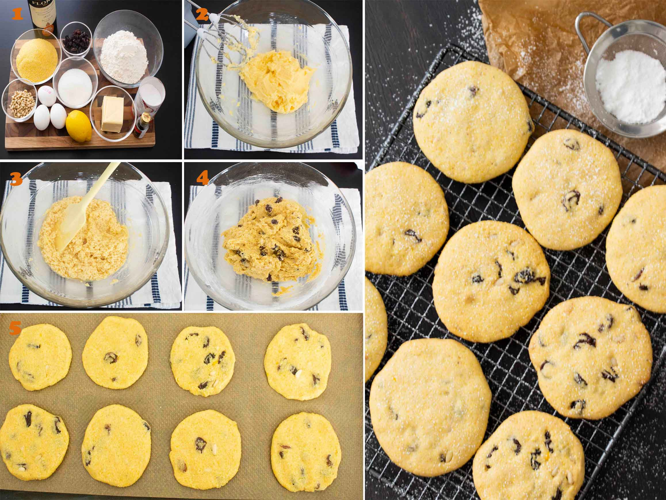 Collage of images showing the steps for making Italian Polenta Cookies (Zaleti).