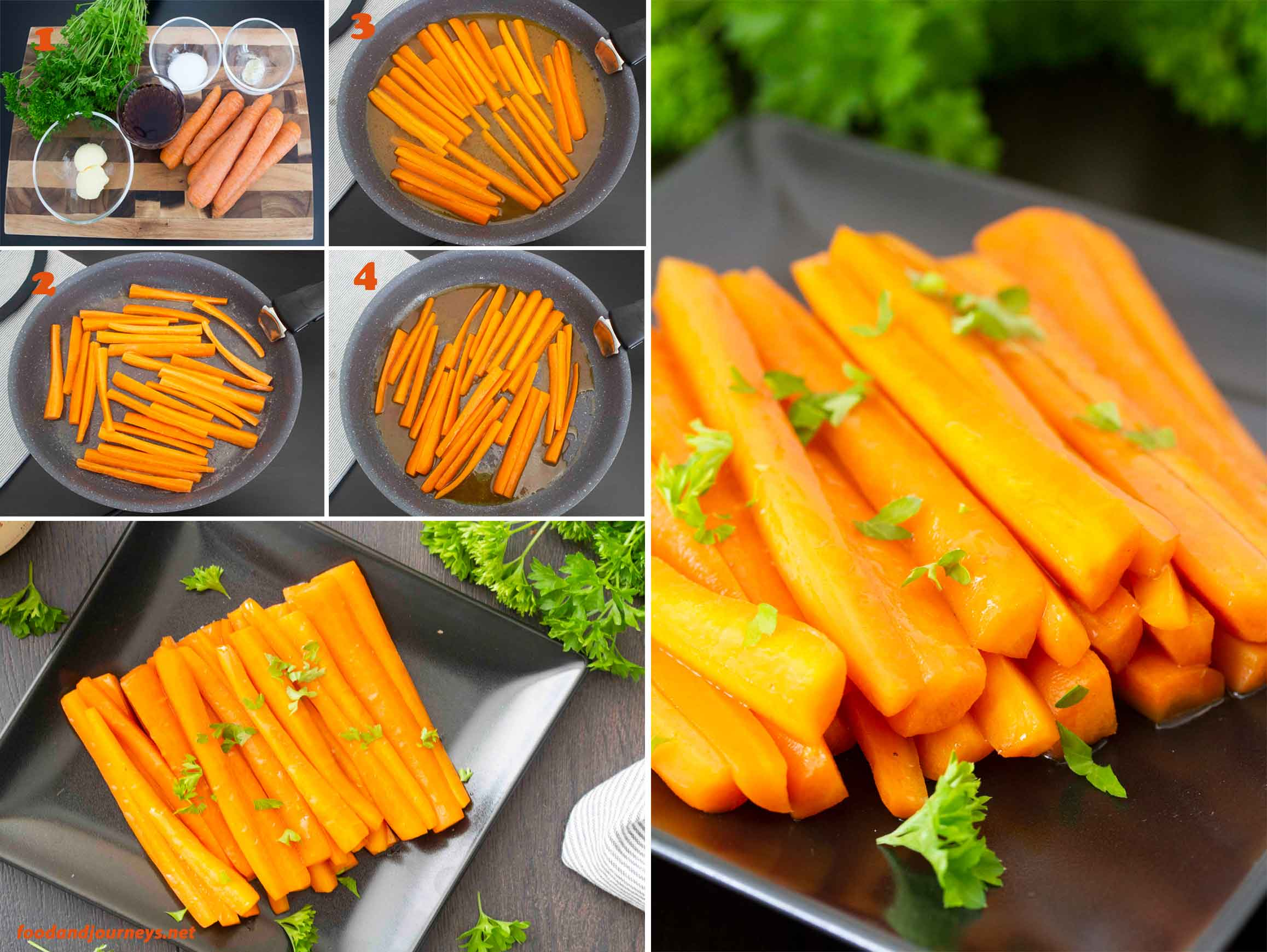 A collage of images showing step by step process to make Carrots with Marsala (Carote al Marsala).