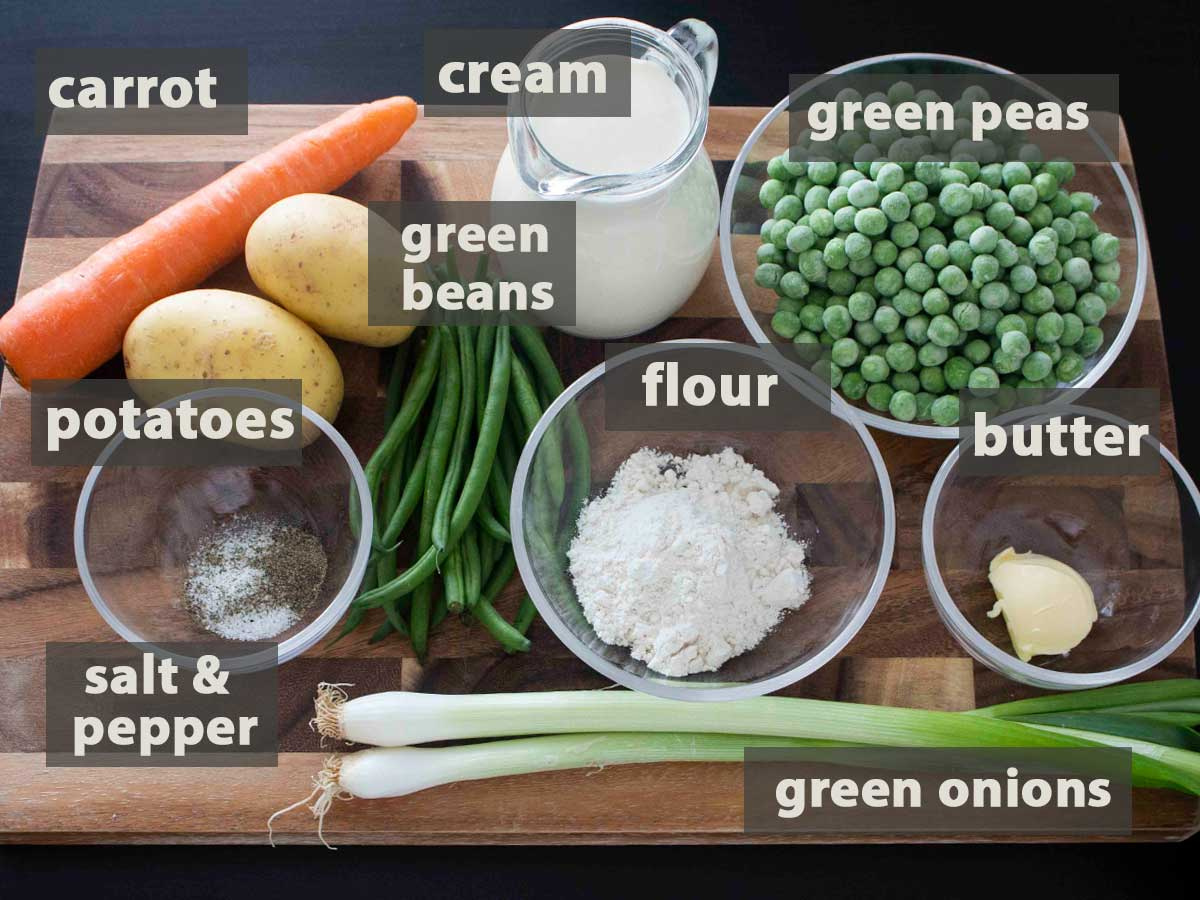 An image showing all the ingredients needed to prepare this Summer Vegetable Soup.