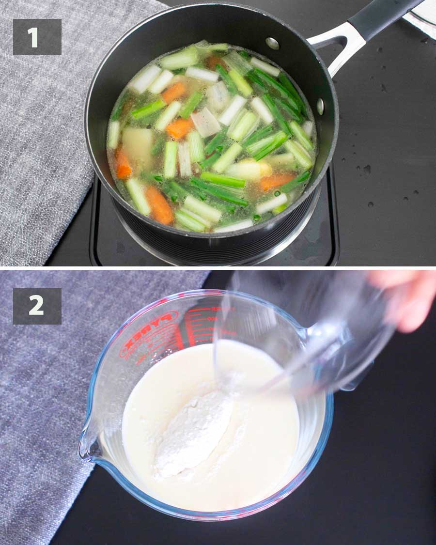 First part of a collage of images showing the step by step process on how to prepare Summer Soup.