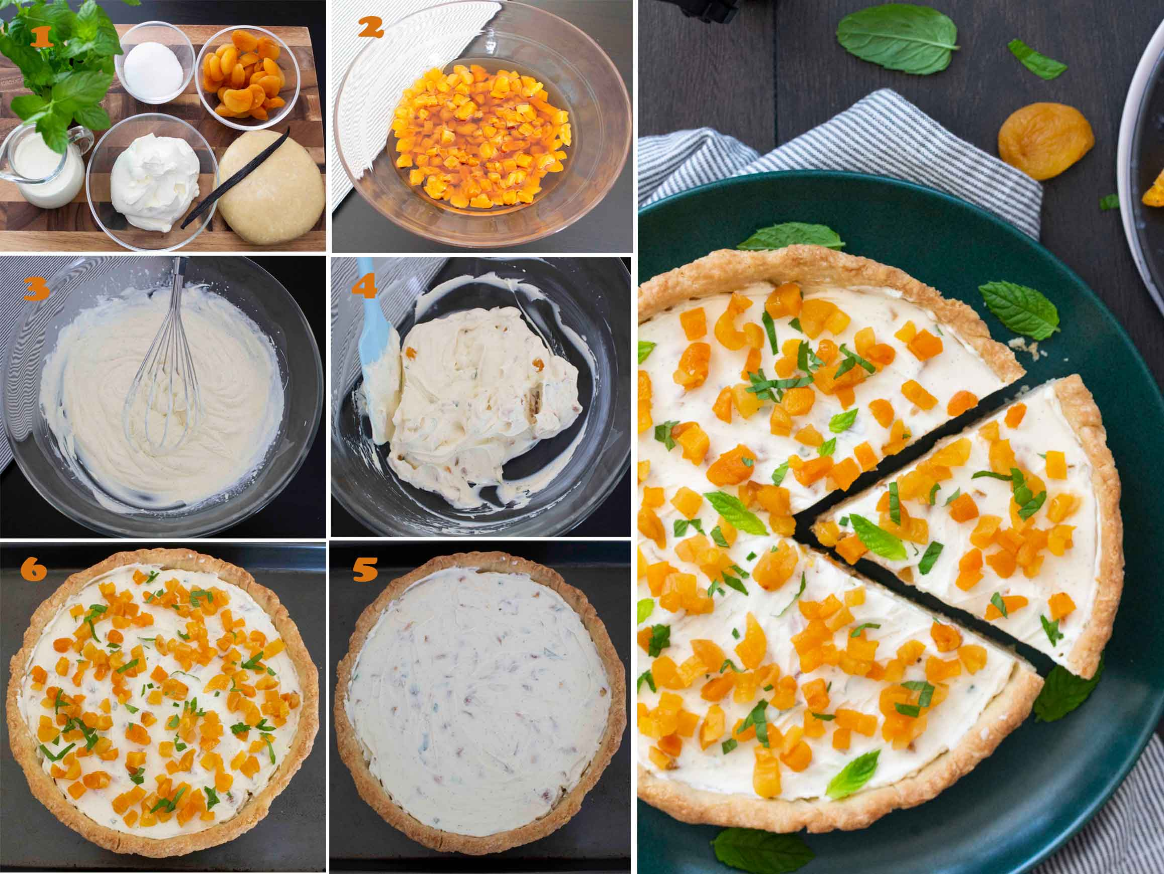 A collage of images showing the step by step process to make Mascarpone and Dried Apricot Tart.