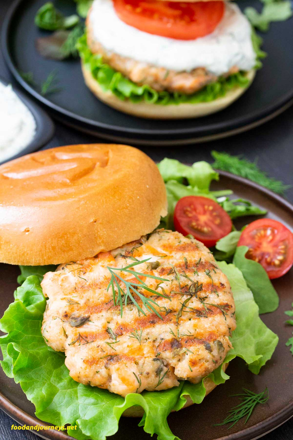 A closer shot of Swedish Salmon Burger patty, highligting the texture of the burger.
