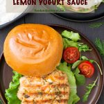 Pinterest Image for Swedish Salmon Burger with Lemon Yogurt Sauce.