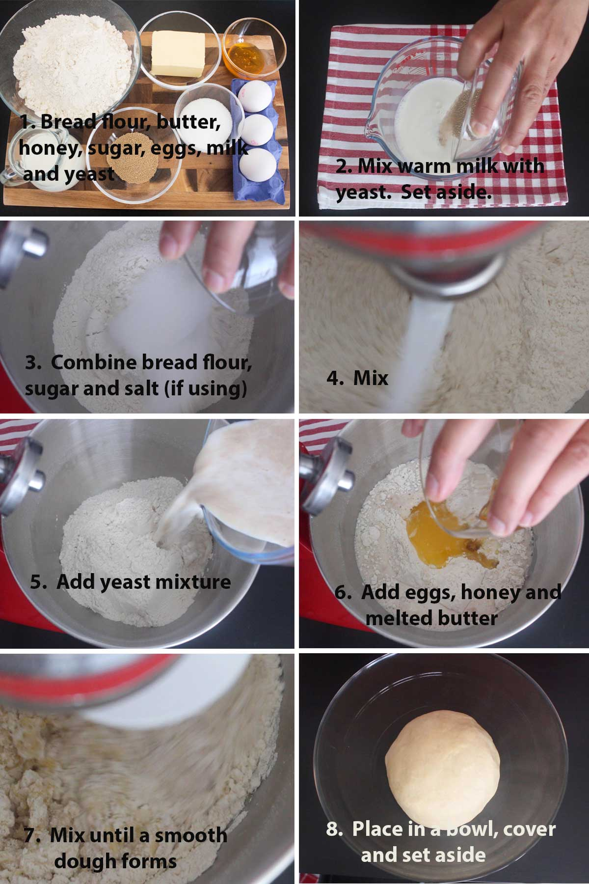 First part of a collage of images showing the step by step process on how to make Italian Brioche.