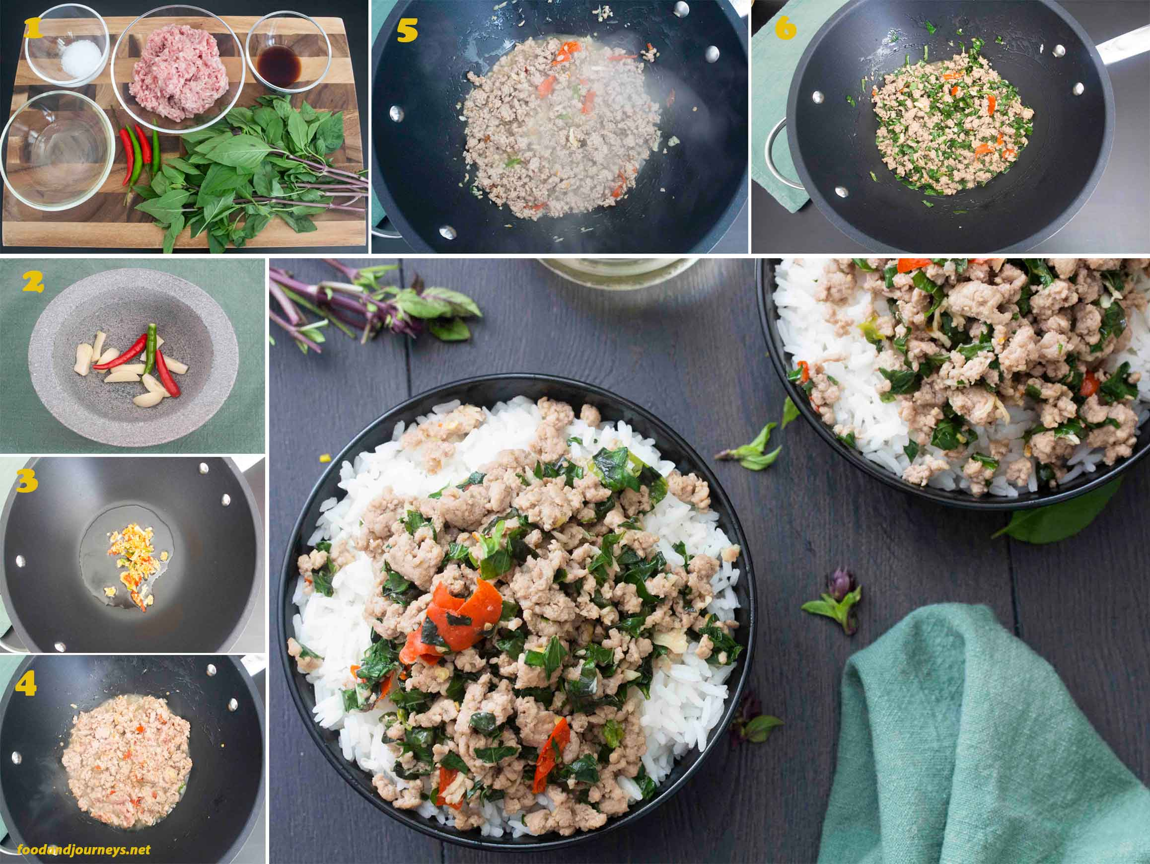 A collage of images showing the step by step process on how to make Thai Spicy Pork.