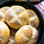 Pinterest image for Danish Breakfast Buns (Rundstykker). Don't let the name fool you, these breakfast buns are also good for snack. Or as hamburger buns!