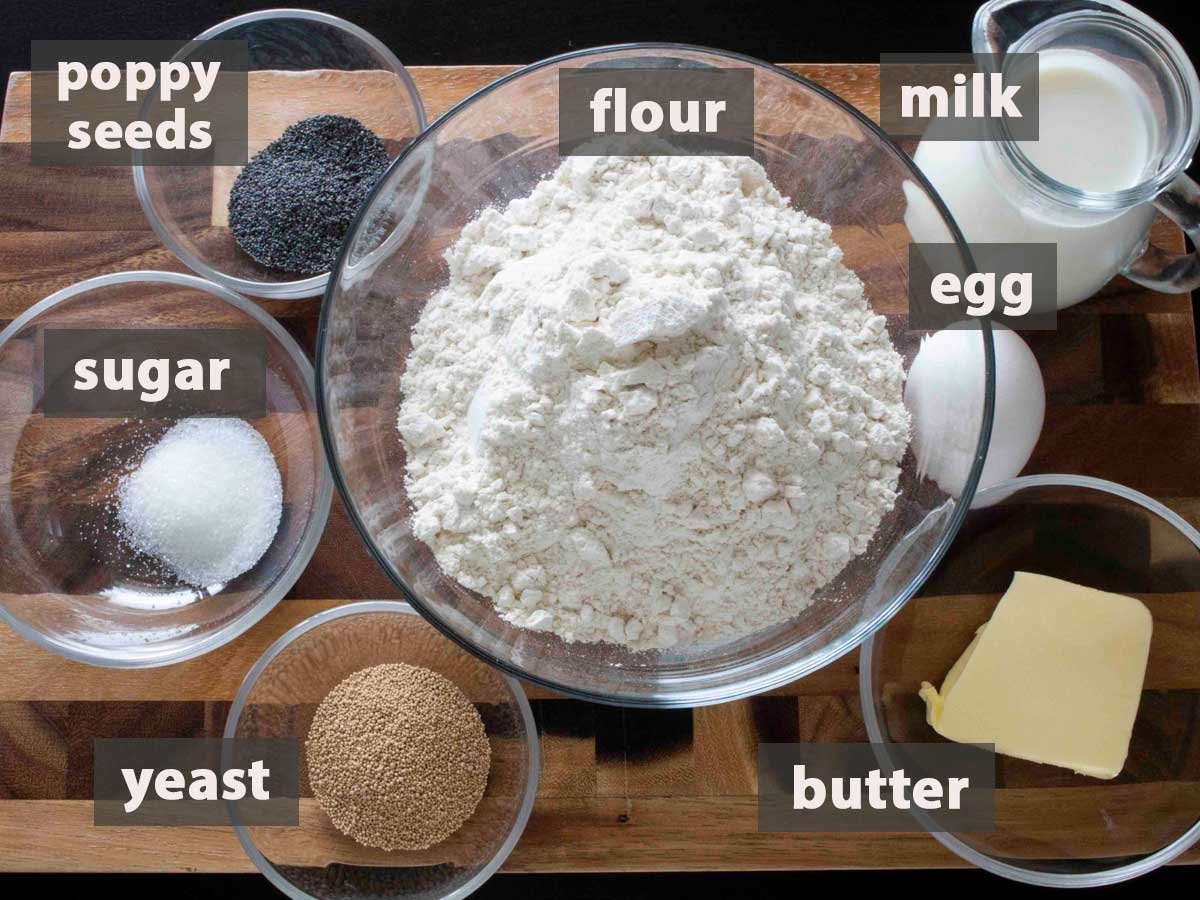 An image showing the ingredients that you need to make Danish Breakfast Buns at home.