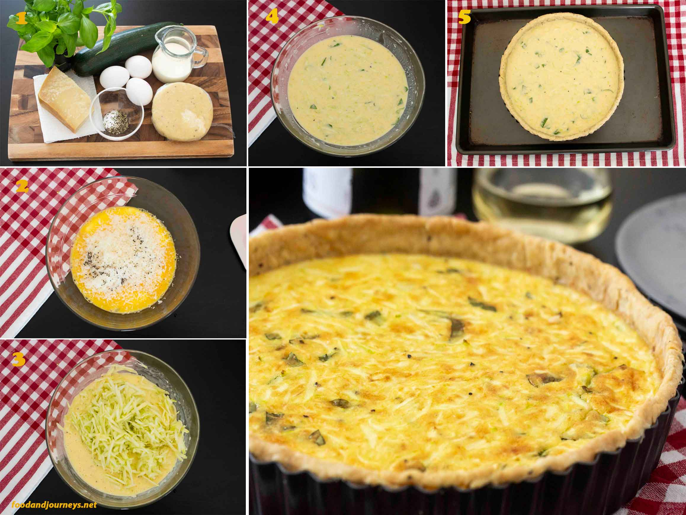 A collage of images showing the step by step process on how to make Zucchini Pie.