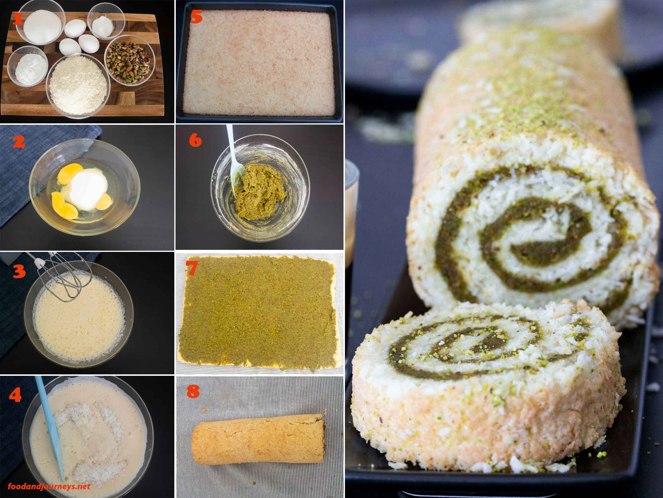 A collage of images showing the step by step process on how to make Coconut & Pistachio Cake Roll