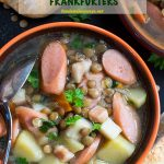 Pinterest image for German Lentil Soup with Frankfurters. An easy to prepare vegetable soup that can also be called sausage soup. Enjoy a serving with some crusty bread!