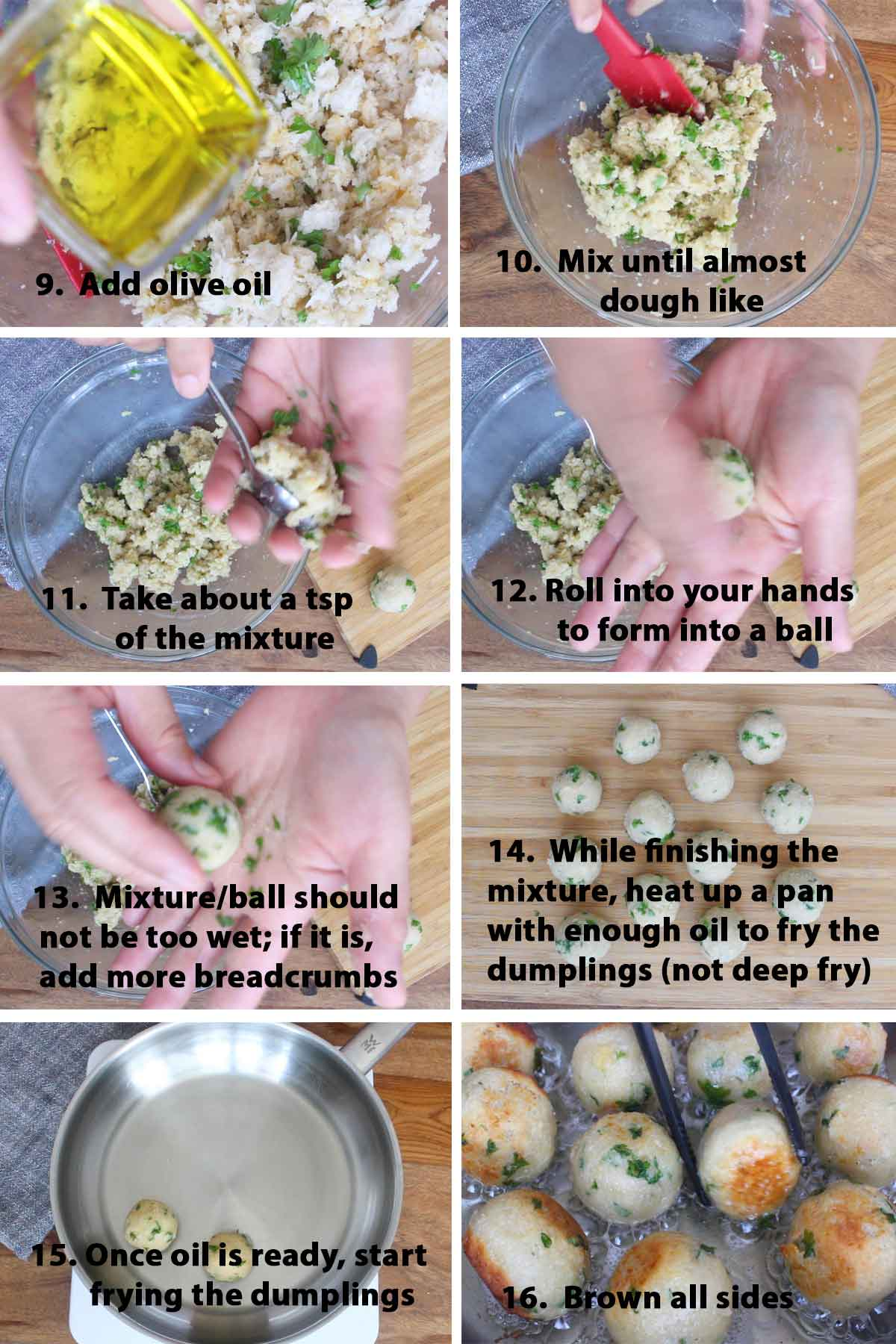 Second part of a collage of images showing the step by step process on how to make Italian Bread & Cheese Dumplings. These bread dumplings are quite addictive and they can be served as appetizers or as a light meal on its own!