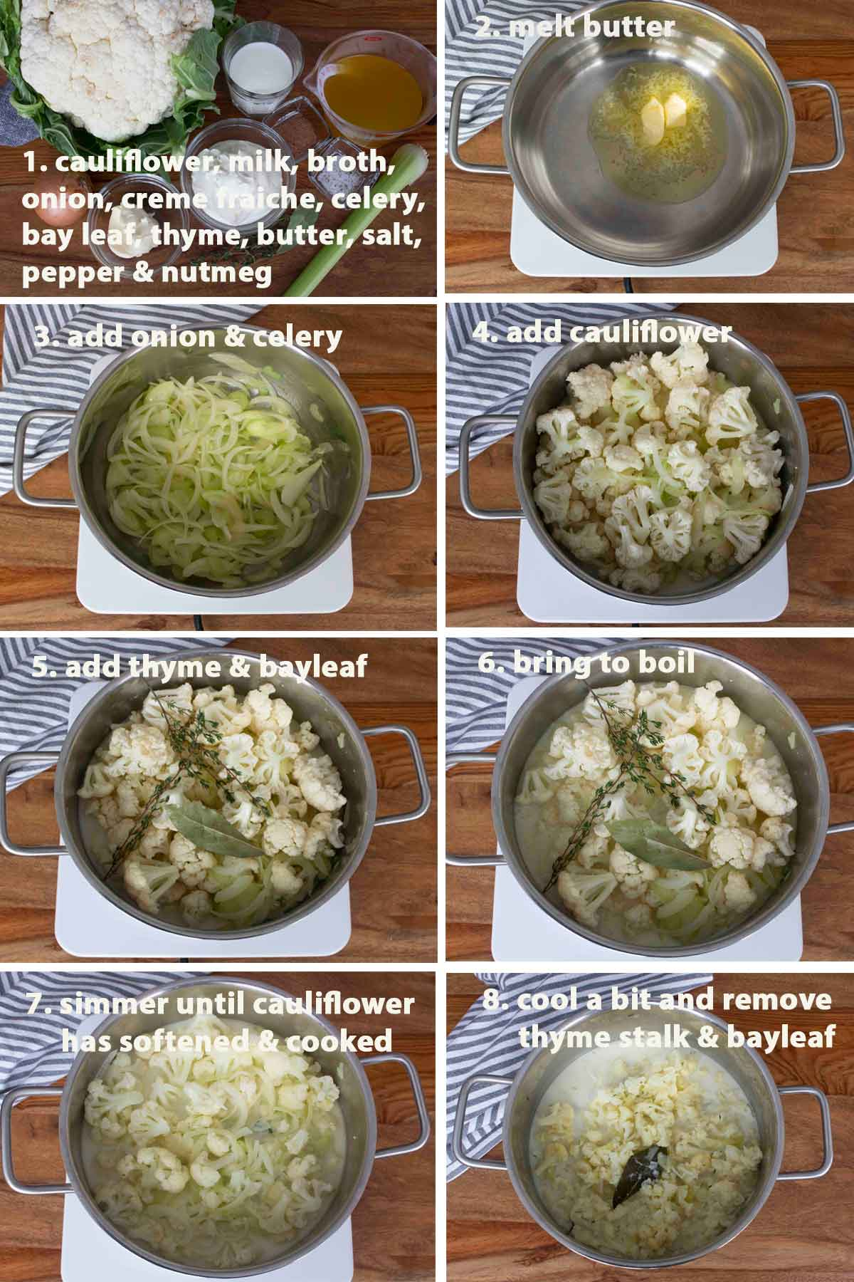 Collage of images showing the step by step process on how to make French Cauliflower Soup, Part 1