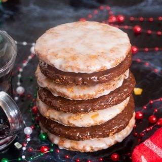 A stack of German Flourless Christmas Cookies (Elisenlebkuchen)