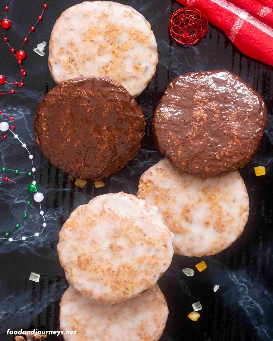 An overhead shot of German Flourless Christmas Cookies (Elisenlebkuchen)