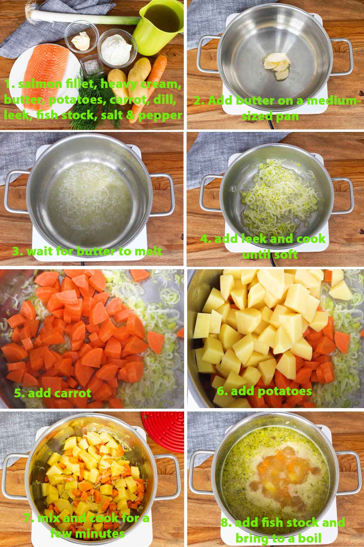 A collage of images showing the step by step process on how to make Finnish Salmon Soup (Lohikeitto), part 1; an easy fish recipe!